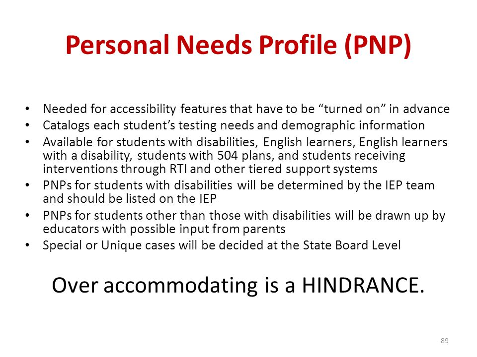 Personal Needs Profile (PNP)