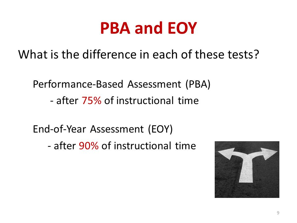 PBA and EOY What is the difference in each of these tests