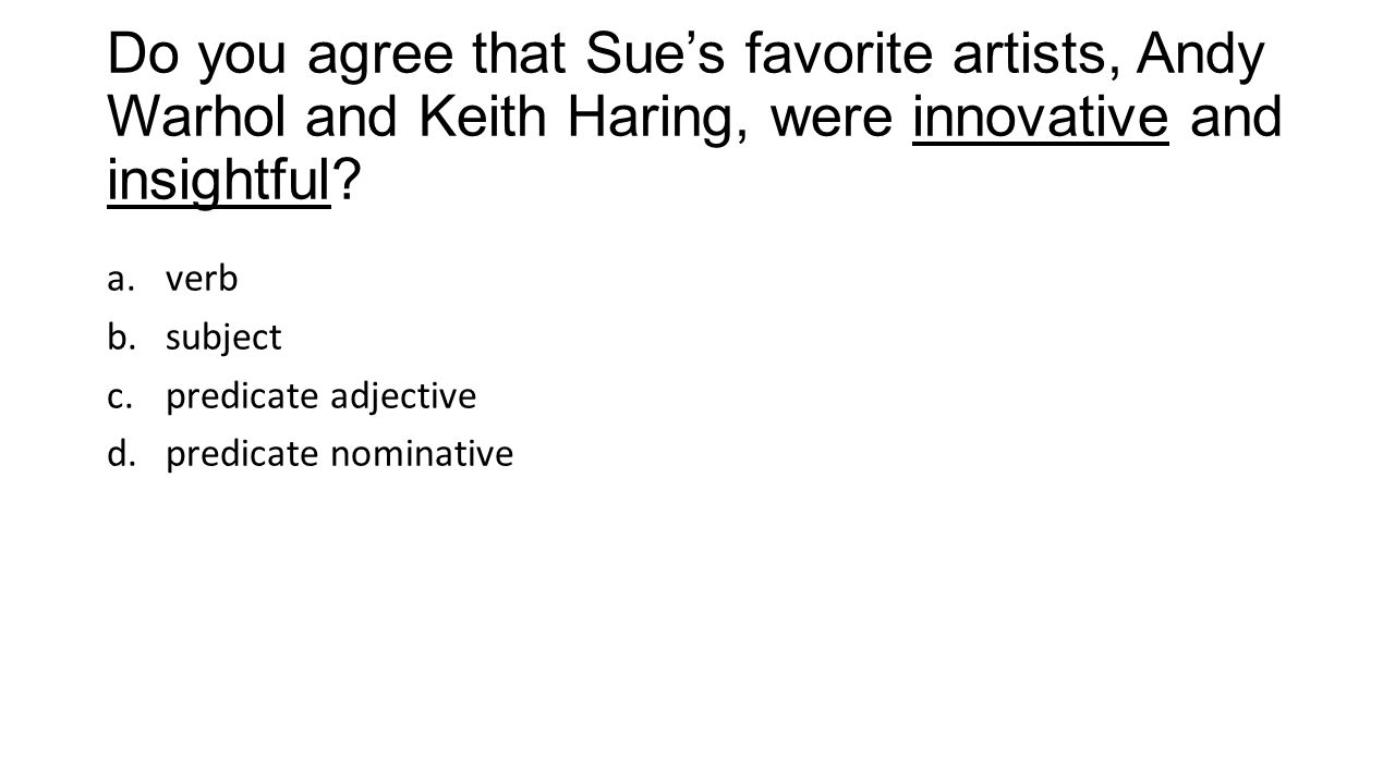Do you agree that Sue's favorite artists, Andy Warhol and Keith Haring, were innovative and insightful