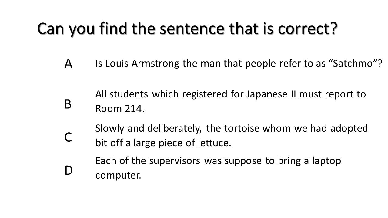 Can you find the sentence that is correct