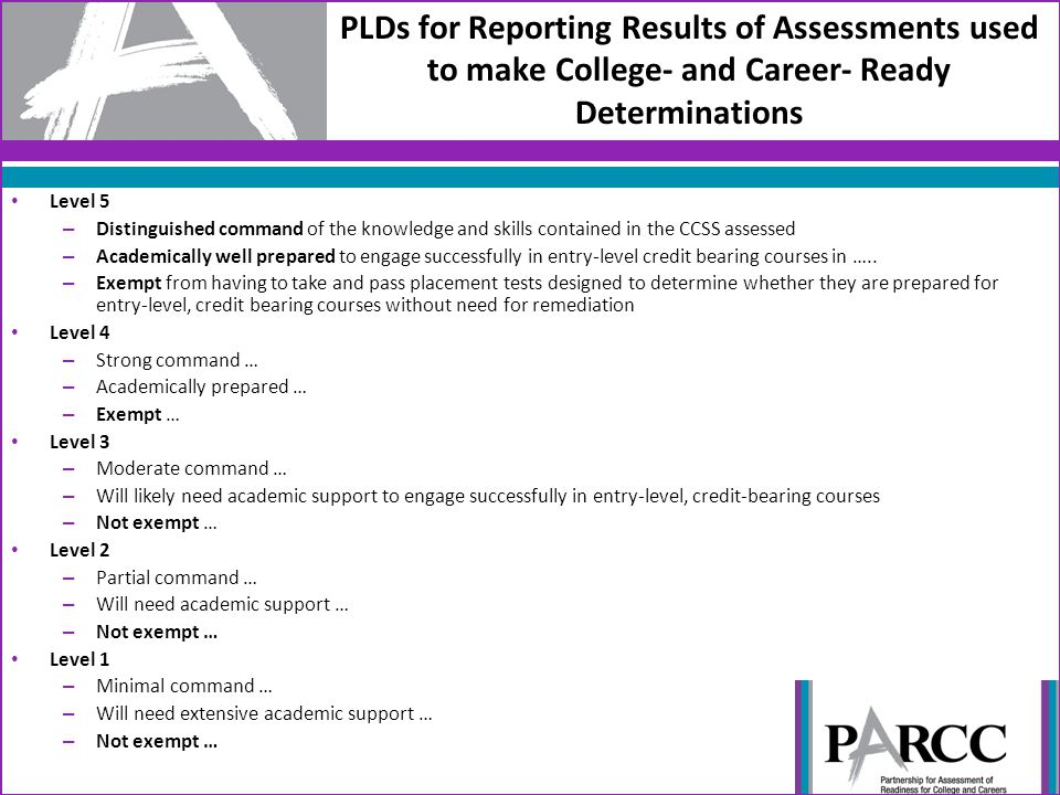 PLDs for Reporting Results of Assessments used to make College- and Career- Ready Determinations