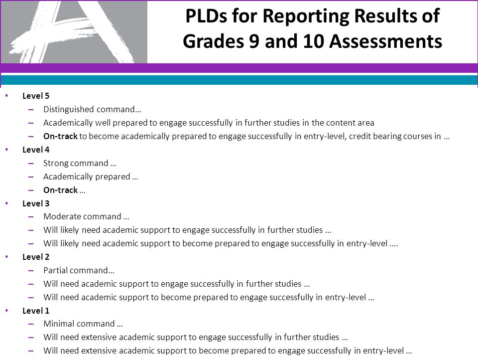 PLDs for Reporting Results of Grades 9 and 10 Assessments