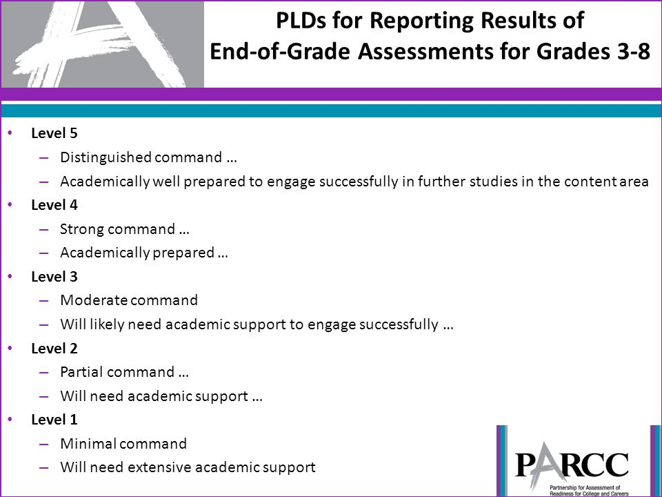 PLDs for Reporting Results of End-of-Grade Assessments for Grades 3-8