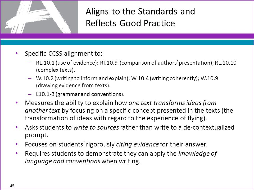 Aligns to the Standards and Reflects Good Practice