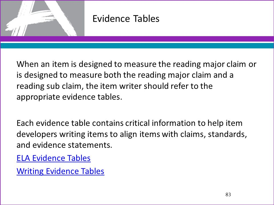 Evidence Tables
