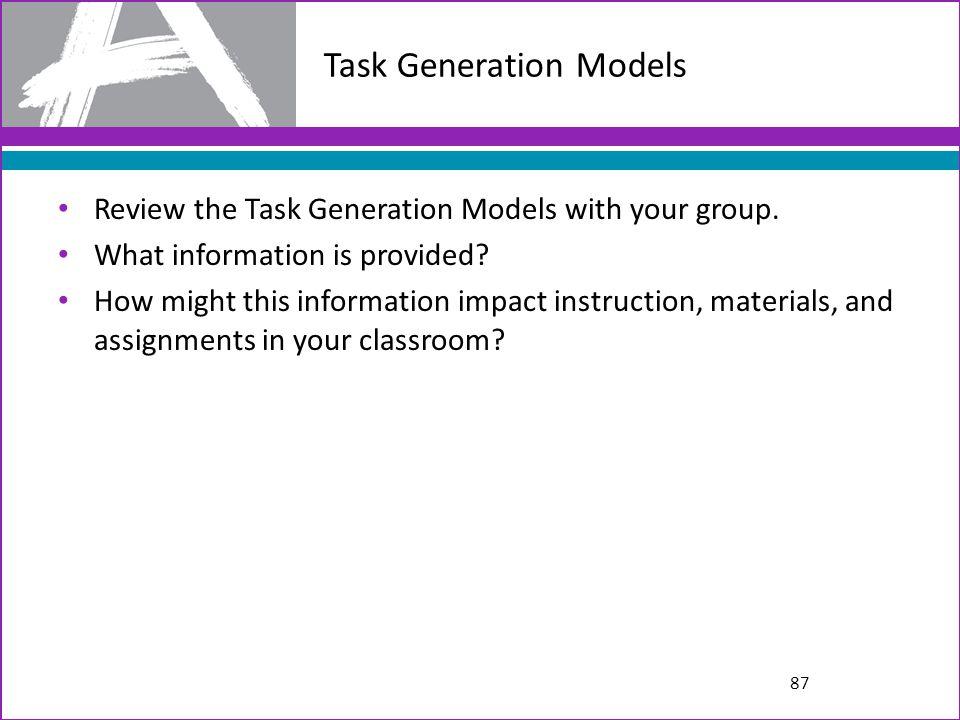 Task Generation Models