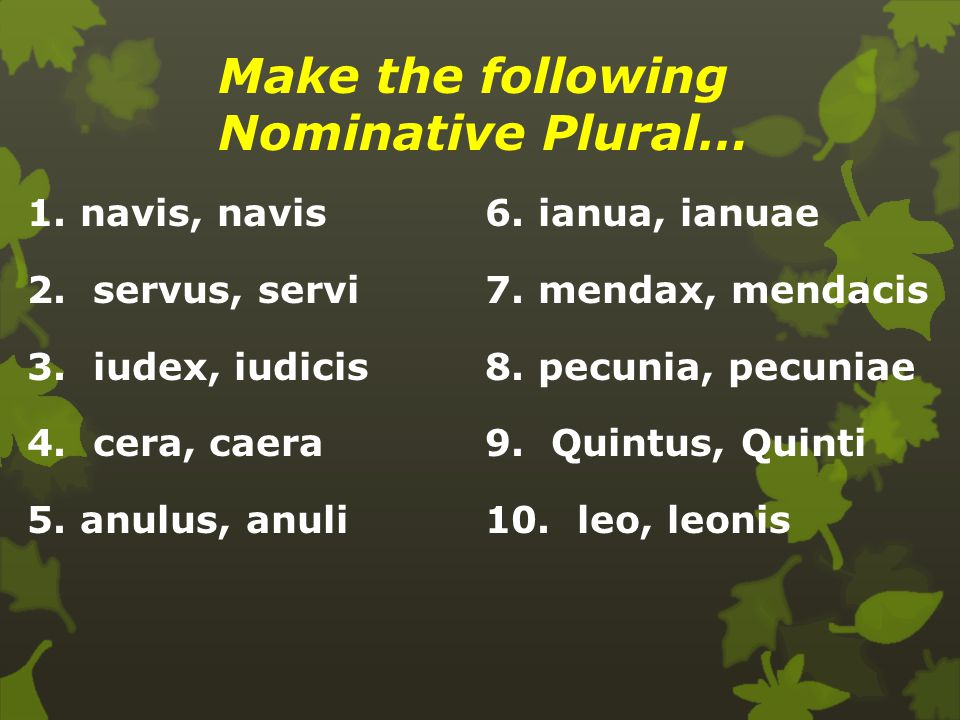Make the following Nominative Plural…