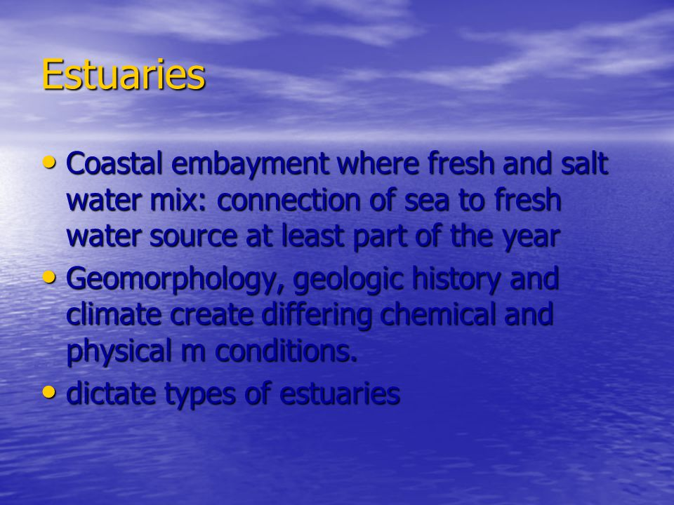 Estuaries Coastal embayment where fresh and salt water mix: connection of sea to fresh water source at least part of the year.