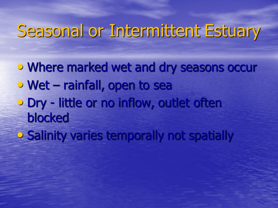 Seasonal or Intermittent Estuary