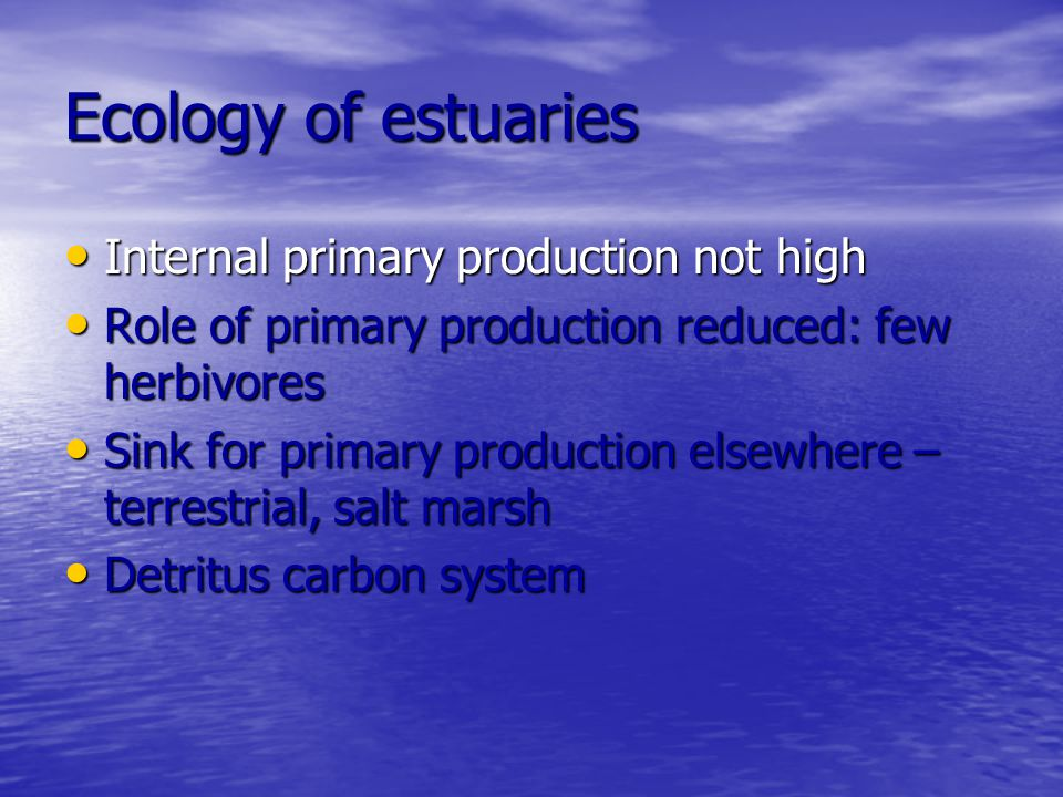 Ecology of estuaries Internal primary production not high