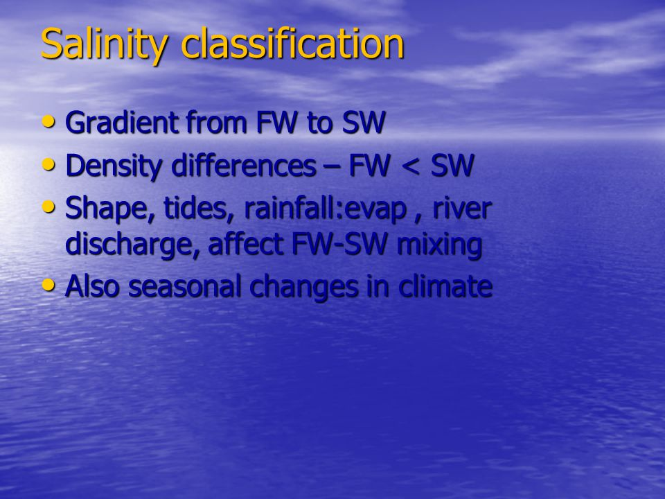 Salinity classification