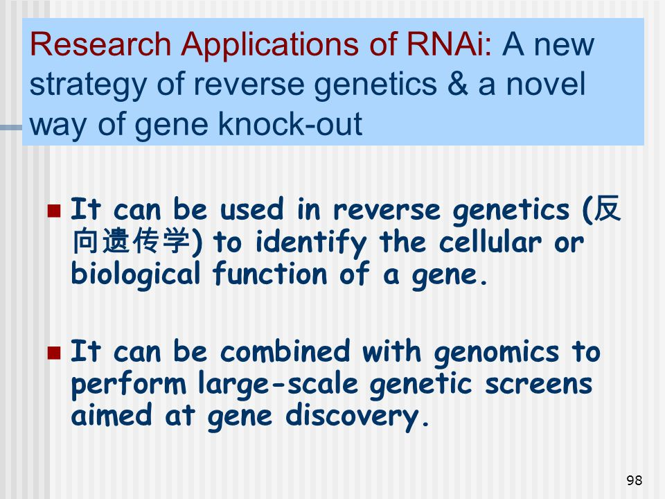 Research Applications of RNAi: A new strategy of reverse genetics & a novel way of gene knock-out
