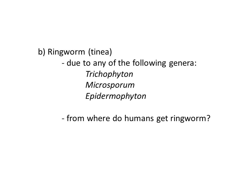 b) Ringworm (tinea). - due to any of the following genera: