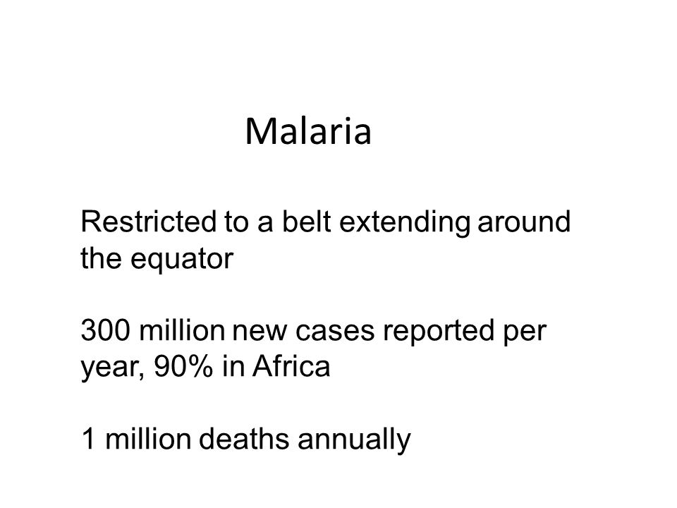 Malaria Restricted to a belt extending around the equator