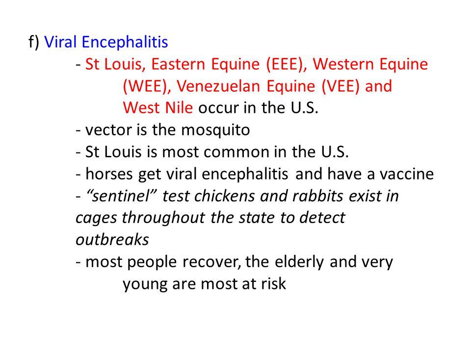 f) Viral Encephalitis - St Louis, Eastern Equine (EEE), Western Equine (WEE), Venezuelan Equine (VEE) and West Nile occur in the U.S.