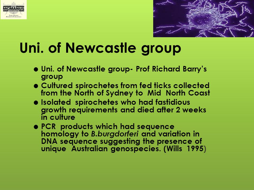 Uni. of Newcastle group Uni. of Newcastle group- Prof Richard Barry's group.