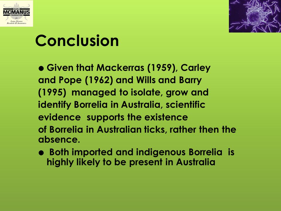 Conclusion Given that Mackerras (1959), Carley