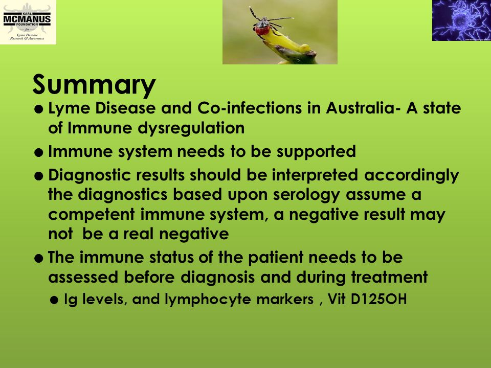 Summary Lyme Disease and Co-infections in Australia- A state of Immune dysregulation. Immune system needs to be supported.