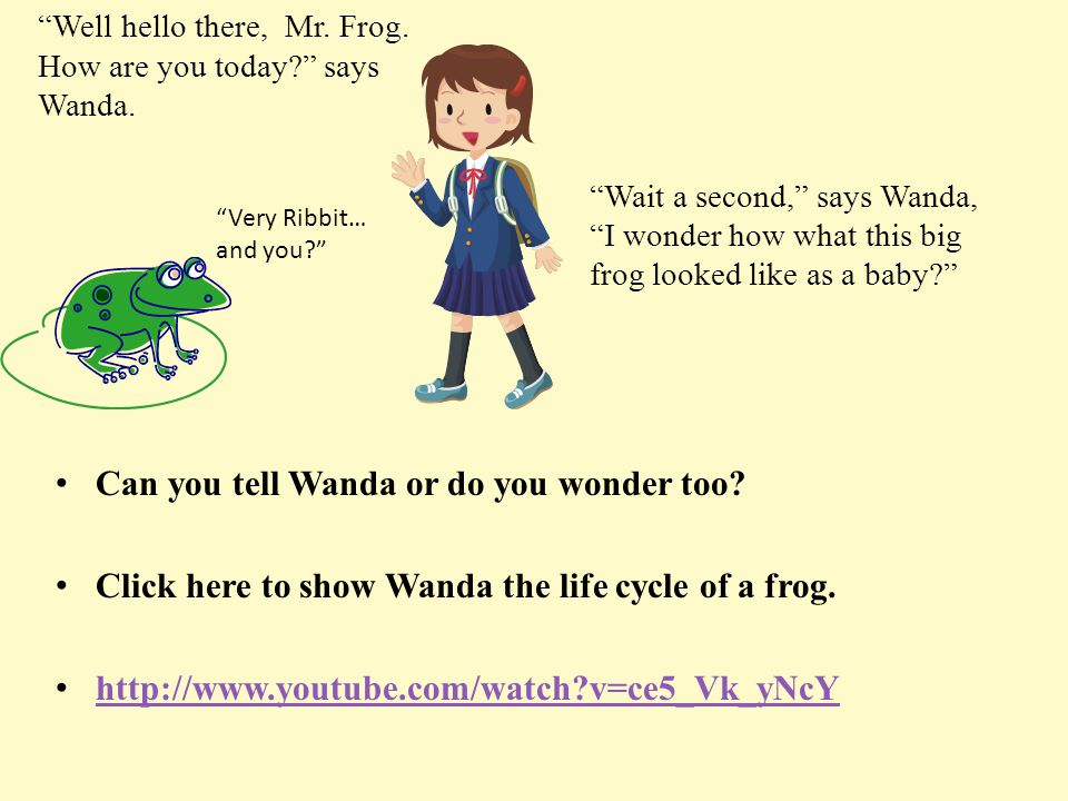 Wait a second, says Wanda, I wonder how what this big frog looked like as a baby