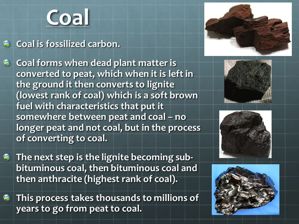 Coal Coal is fossilized carbon.