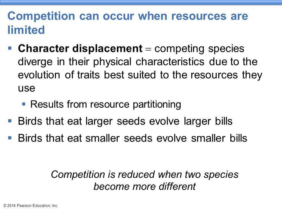 Competition can occur when resources are limited