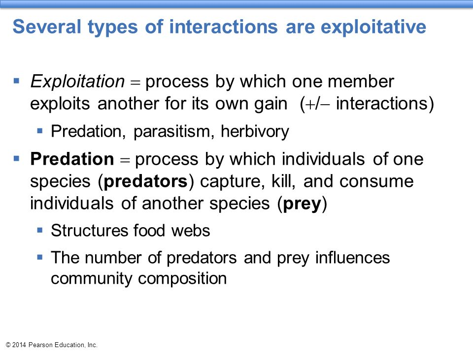 Several types of interactions are exploitative