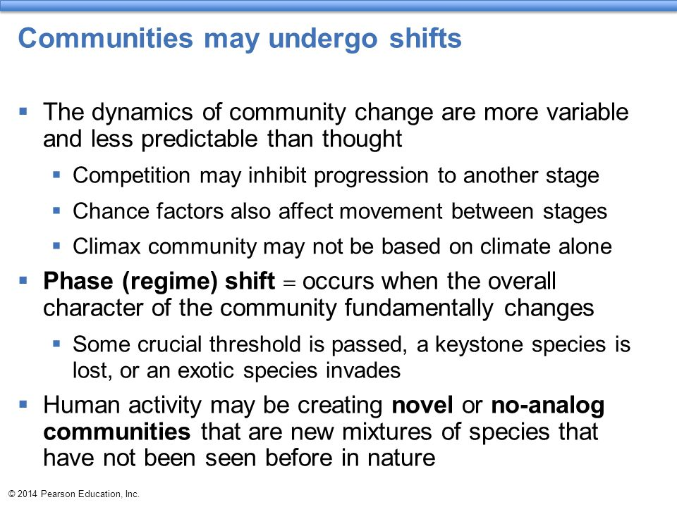 Communities may undergo shifts