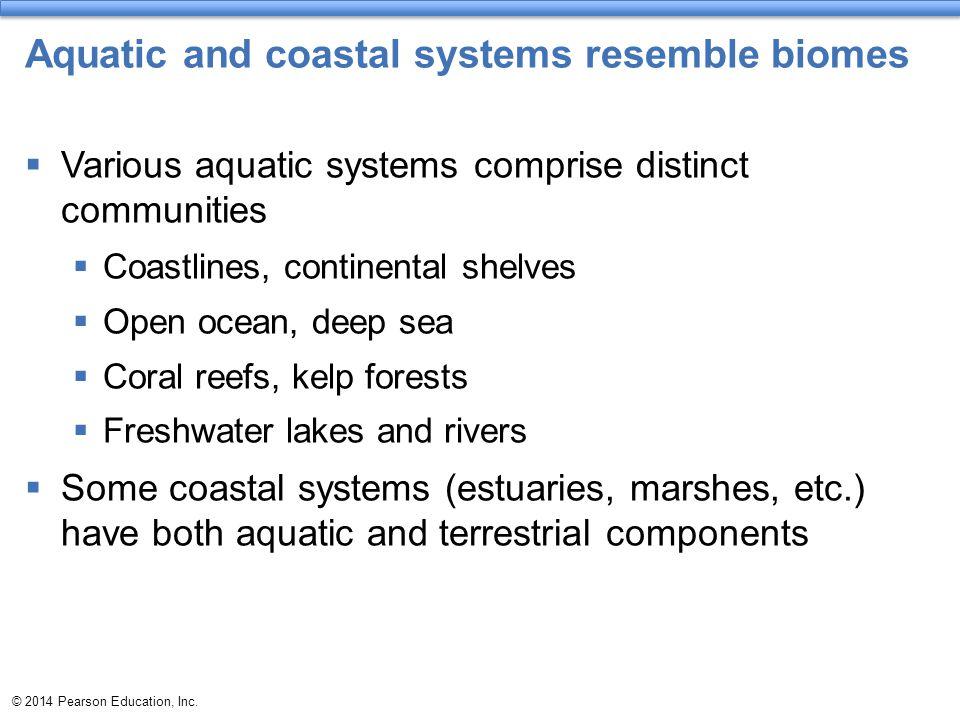 Aquatic and coastal systems resemble biomes