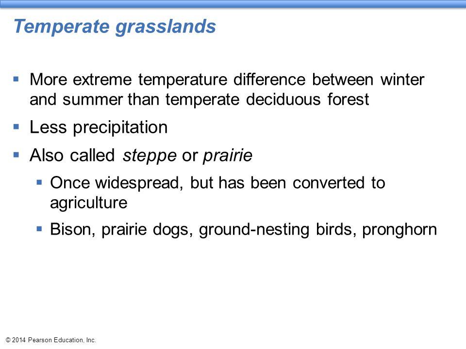 Temperate grasslands Less precipitation Also called steppe or prairie
