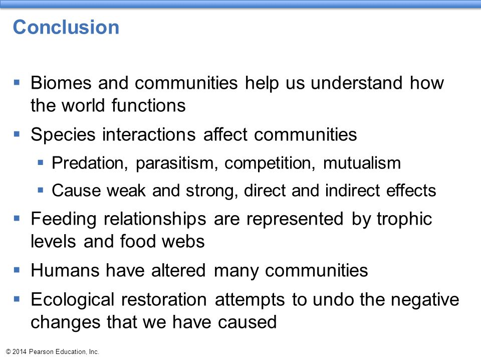 Conclusion Biomes and communities help us understand how the world functions. Species interactions affect communities.