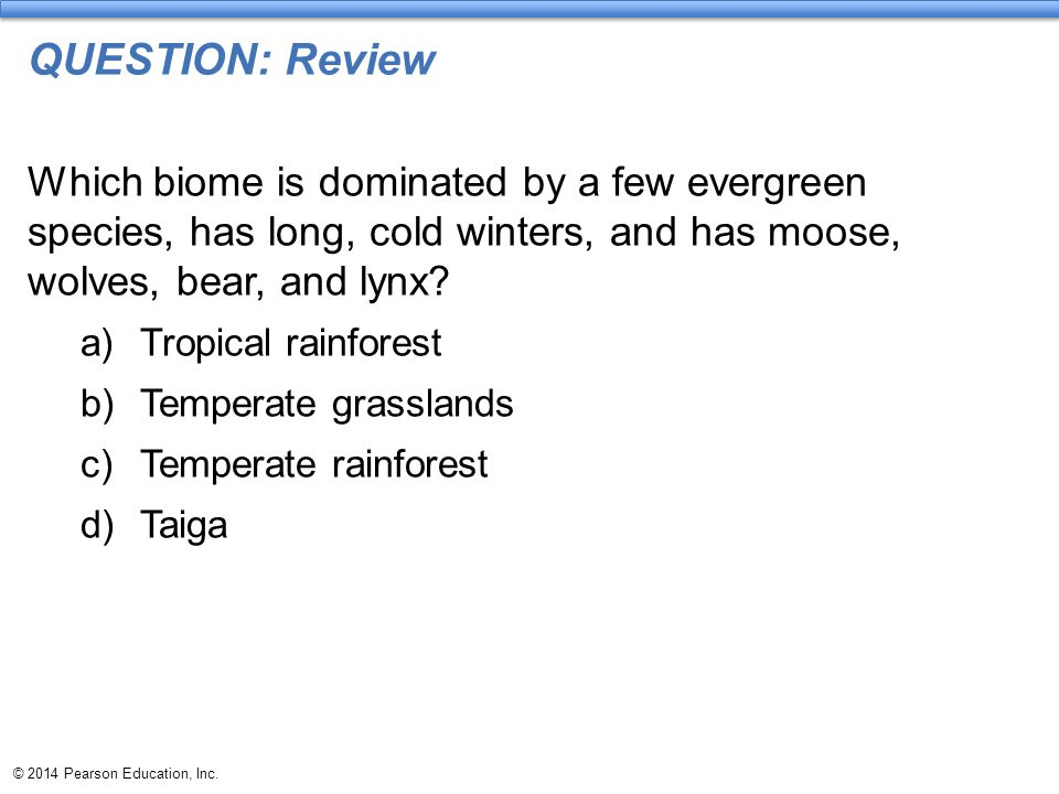 QUESTION: Review Which biome is dominated by a few evergreen species, has long, cold winters, and has moose, wolves, bear, and lynx