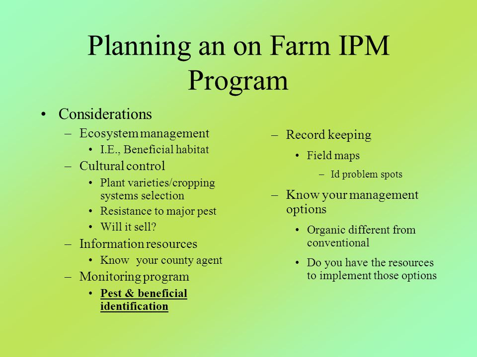 Planning an on Farm IPM Program