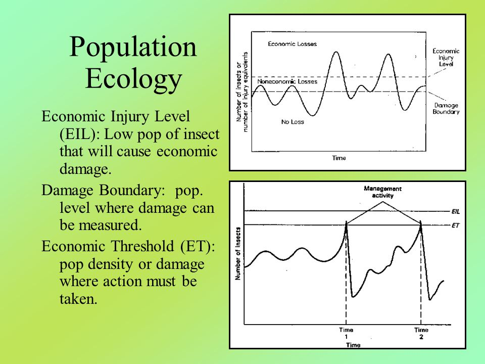 Population Ecology Economic Injury Level (EIL): Low pop of insect that will cause economic damage.