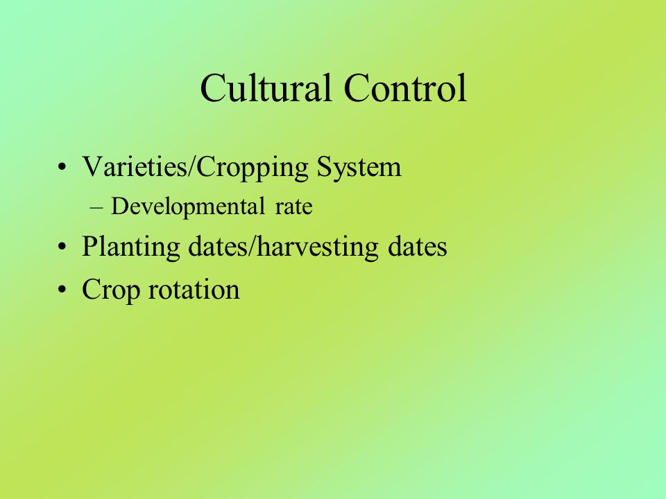 Cultural Control Varieties/Cropping System