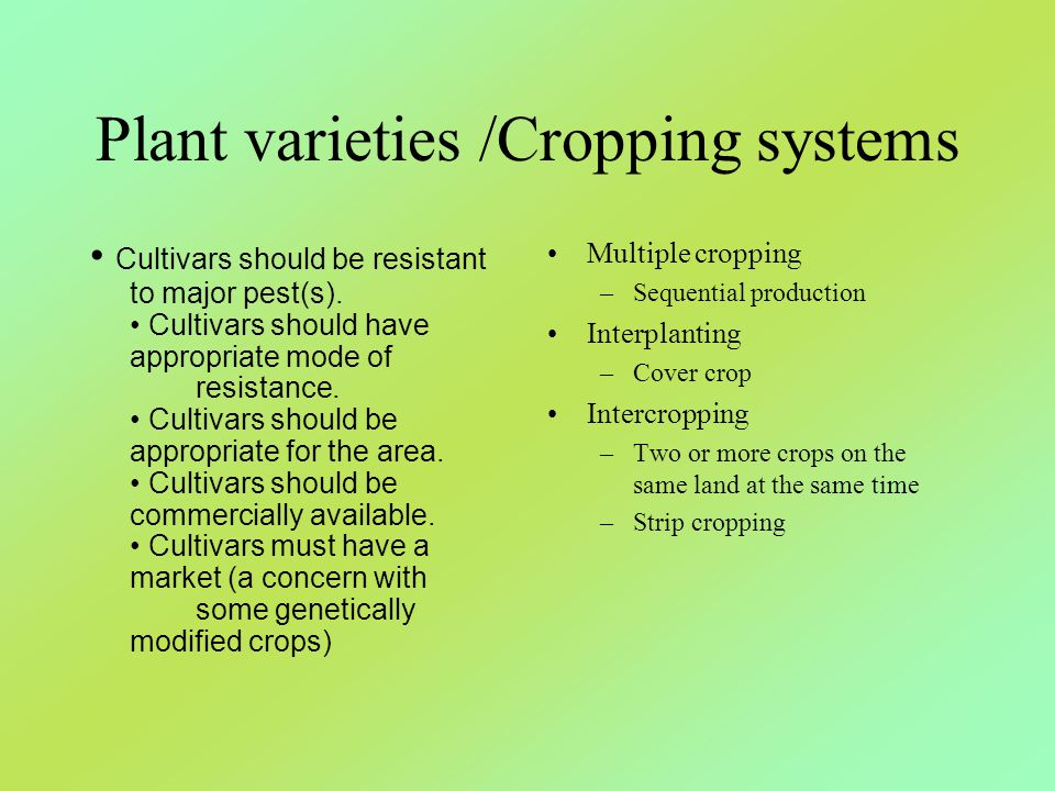 Plant varieties /Cropping systems