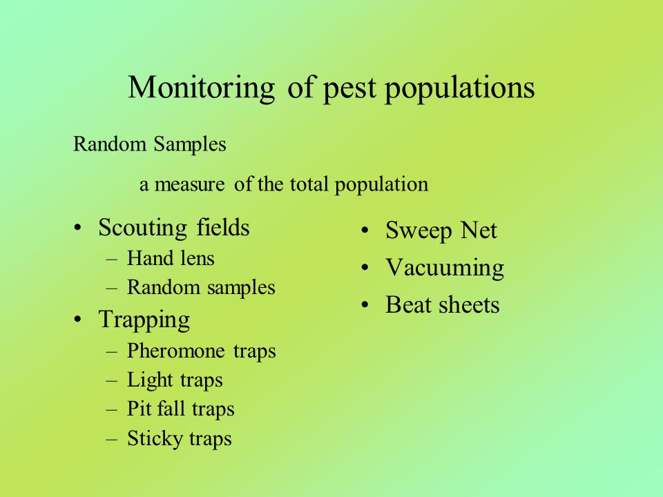 Monitoring of pest populations