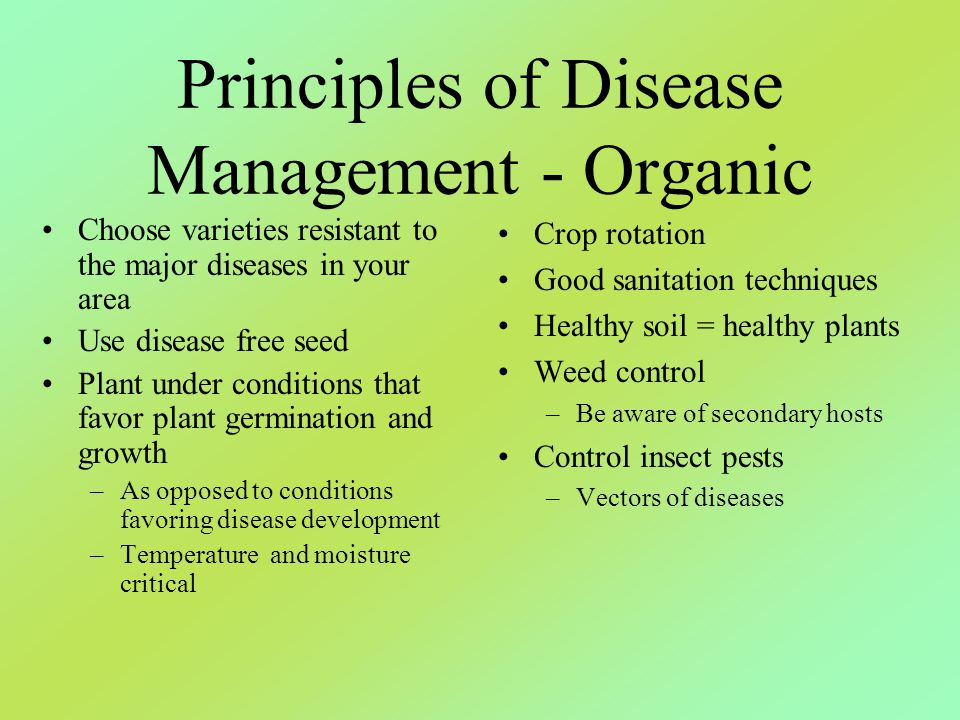 Principles of Disease Management - Organic