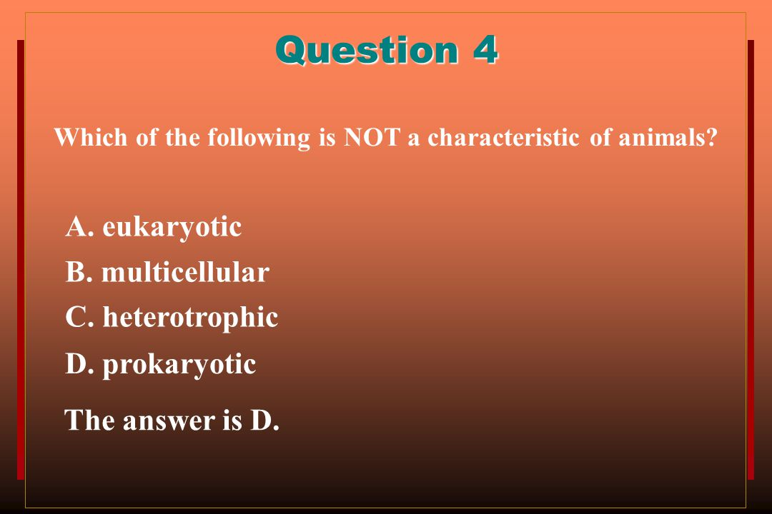 Question 4 A. eukaryotic B. multicellular C. heterotrophic