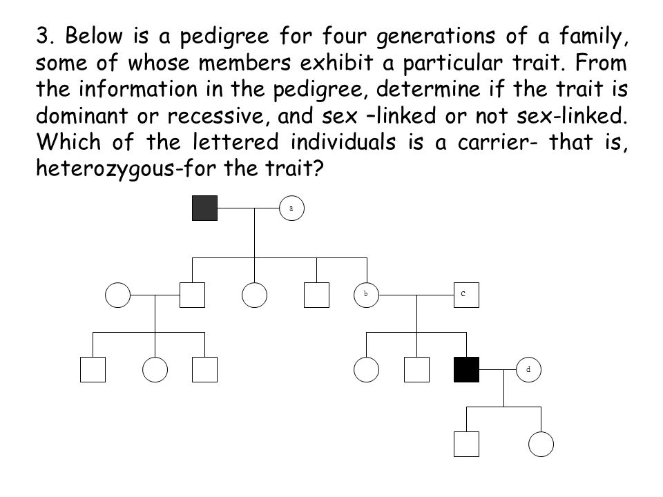 3. Below is a pedigree for four generations of a family, some of whose members exhibit a particular trait. From the information in the pedigree, determine if the trait is dominant or recessive, and sex –linked or not sex-linked. Which of the lettered individuals is a carrier- that is, heterozygous-for the trait