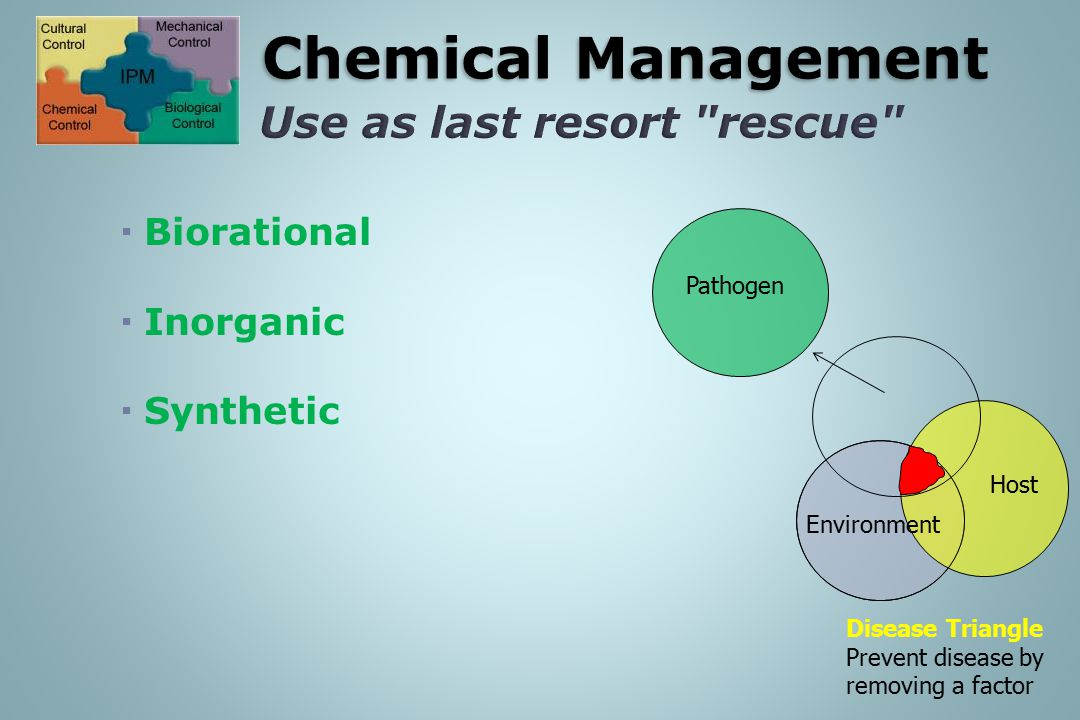IPM: Chemical Management Use as last resort rescue