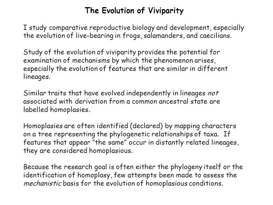 The Evolution of Viviparity