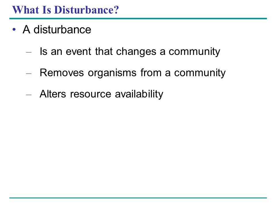 What Is Disturbance A disturbance