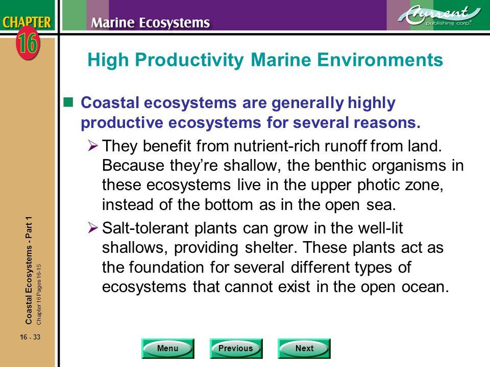 High Productivity Marine Environments