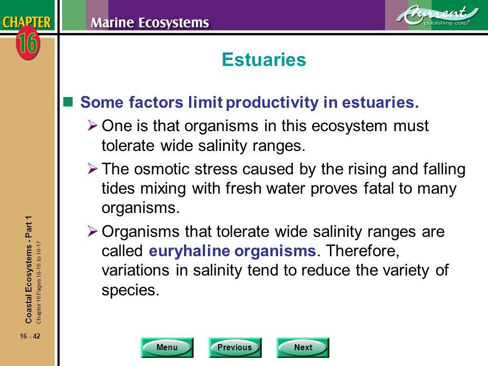 Estuaries Some factors limit productivity in estuaries.