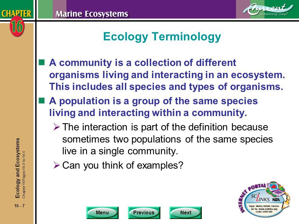 Ecology Terminology
