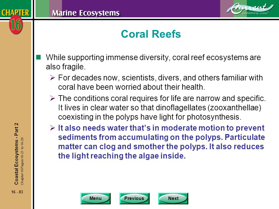 Coral Reefs While supporting immense diversity, coral reef ecosystems are also fragile.