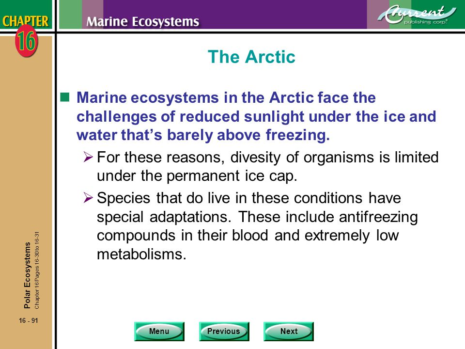 The Arctic Marine ecosystems in the Arctic face the challenges of reduced sunlight under the ice and water that's barely above freezing.