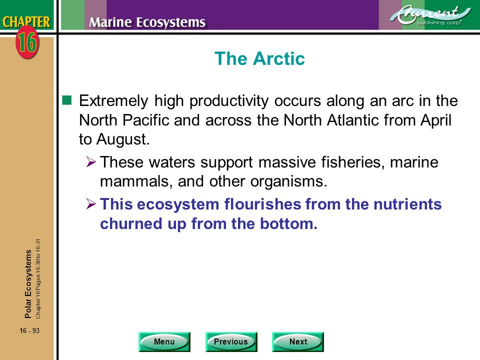 The Arctic Extremely high productivity occurs along an arc in the North Pacific and across the North Atlantic from April to August.