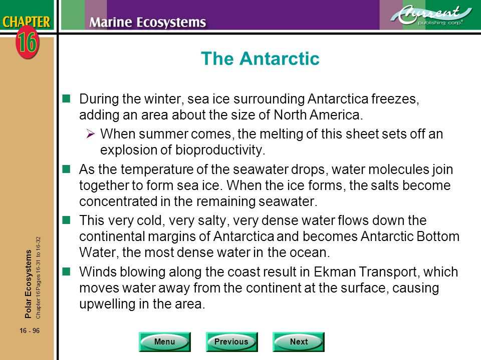 The Antarctic During the winter, sea ice surrounding Antarctica freezes, adding an area about the size of North America.