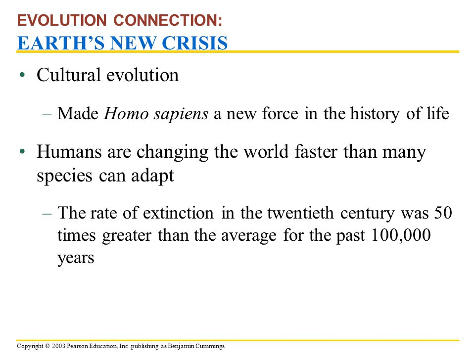 EVOLUTION CONNECTION: EARTH'S NEW CRISIS